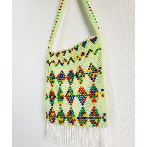 Vintage 60s Lime Green Bag with Colorful Beads